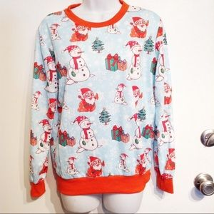 Holiday Christmas Winter Snowman Pullover Top